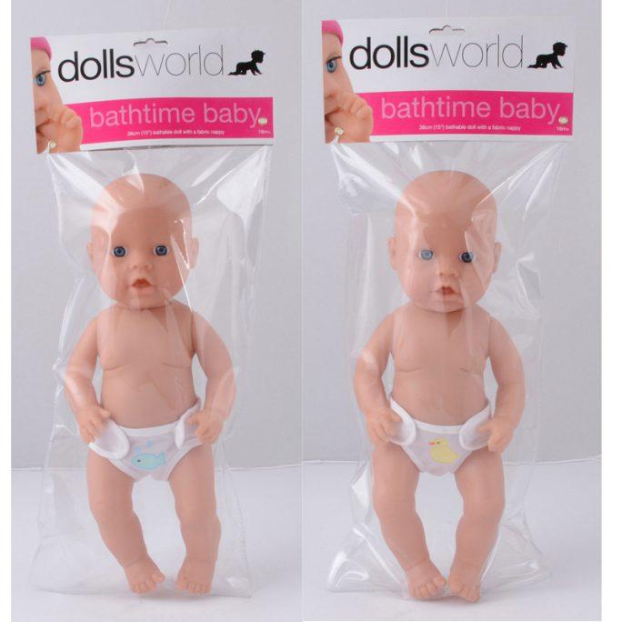 Baddocka 38 cm. Docka med hård kropp som kan bada. Beställ dockleksaker hos LillaFilur.se