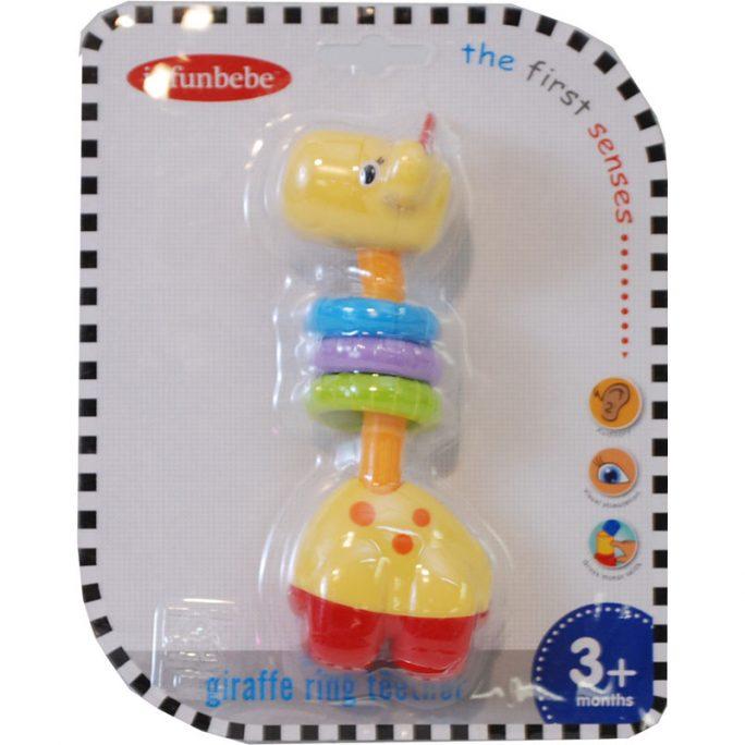 Bitring Giraff och skallra. Färgglad babyleksak. Passar baby från 3 månader. Beställ skallra baby och bitring baby hos LillaFilur.se
