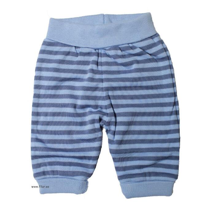 Kläder för förtidigt födda barn. Blå byxor. LillaFilur.se