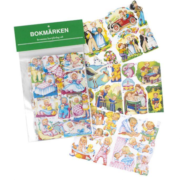 Klassiska bokmärken med baby. Innehåller 5 olika ark med bokmärken bebisar. Köp och beställ bokmärken och bokmärkesalbum på LillaFilur.se