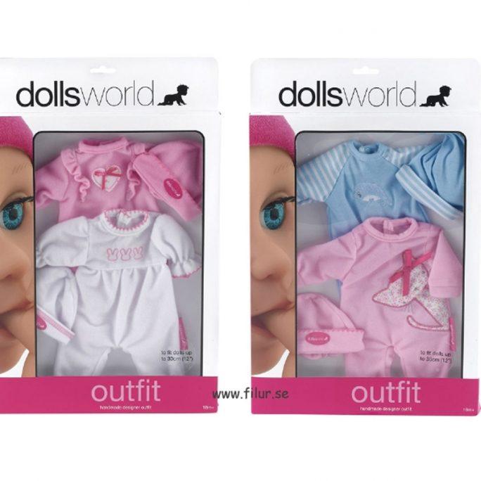 Dockkläder till docka upp till 30 cm. Innehåller 2 stycken sparkdräkter för docka och 2 stycken dock mössor. LillaFilur.se