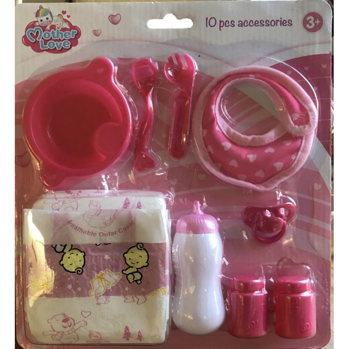 Docktillbehör för docka med docknappflaska, napp, dockblöjor, docknapp och haklapp. LillaFilur.se