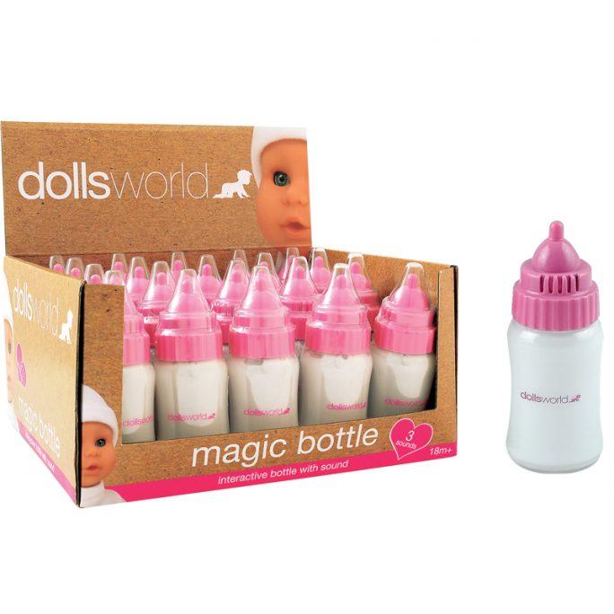 Docktillbehör, tillbehör docka - Magisk nappflaska med ljud. Docknappflaska med mjölk som försvinner när man vänder flaskan. Köp nappflaska docka på LillaFilur.se
