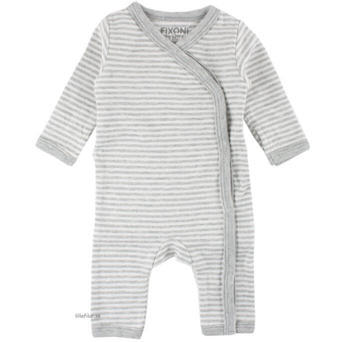 Sparkdräkt / Sparkbyxor för nyfödd och prematur. Gråvit randig unisex pyjamas.
