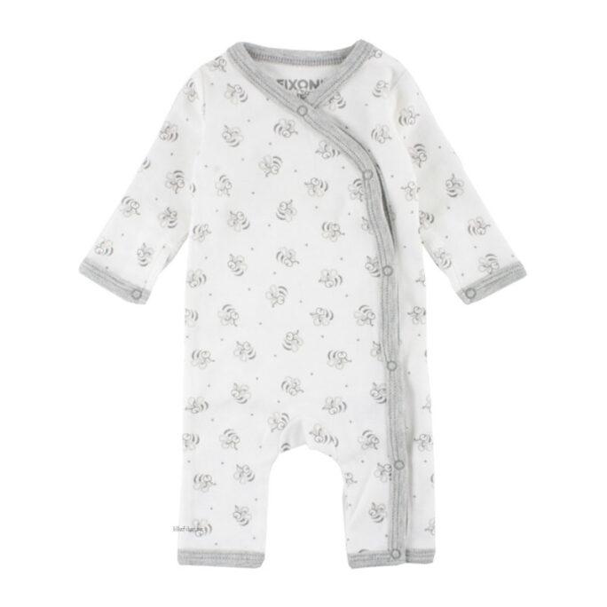 Fixoni Sparkdräkt Vit med bin. Ekologiska babykläder och prematurkläder i storlek 32, 38, 44, 50, 56 - LillaFilur.se