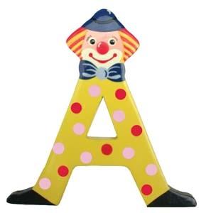 Clownbokstäver, träbokstäver med clown.