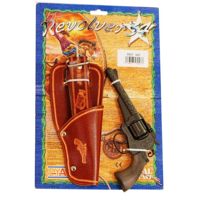 Leksakspistol med hölster. Knallpulver pistol med hölster 8-skott. Beställ knallpulver och leksakspistol hos LillaFilur.se