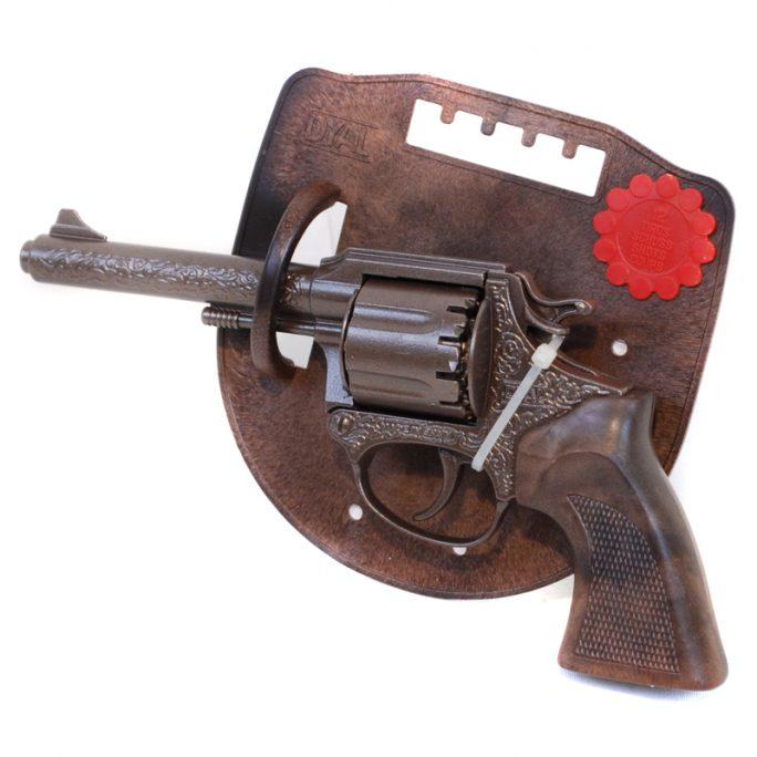 Knallpulverpistol i metall 12-skott från Dyal. Fin knallpulver revolver för knallpulverskott med 12-ring. Köp knallpulver på LillaFilur.se