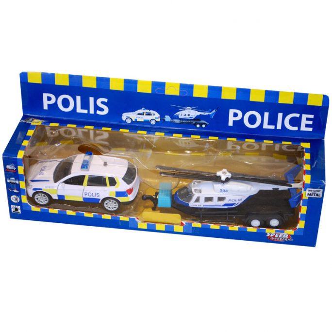 Leksak polisbil och polishelikopter. LillaFilur.se