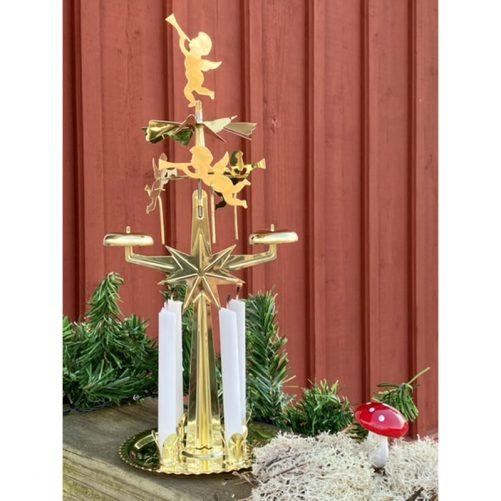 Ljusstake Änglaspel Mässing. Ljusstake änglar i original design. Med 4 st ljus för änglaspel. LillaFilur.se