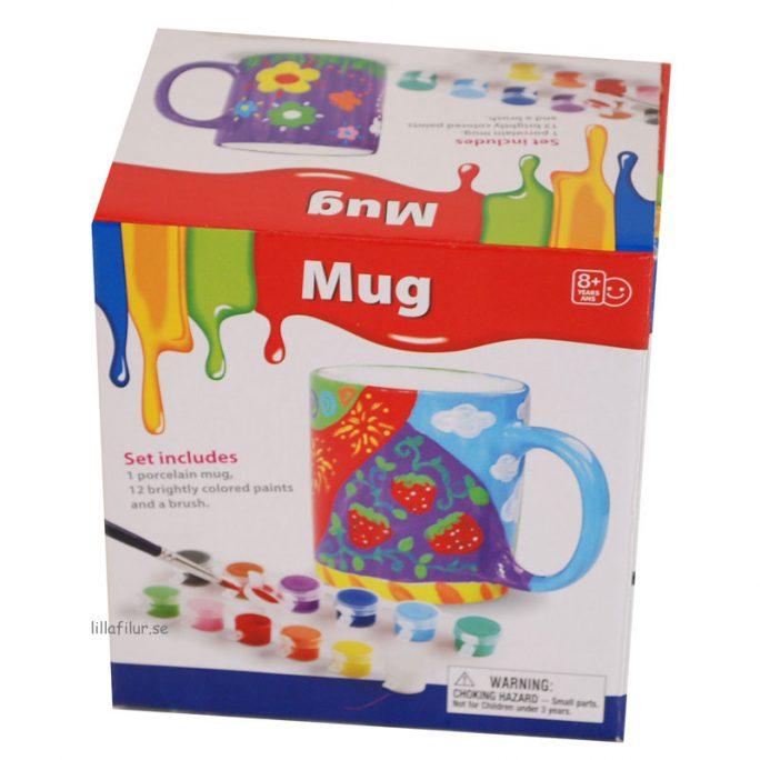 Måla din egen mugg, porslinsmålning. Set med mugg, färger och pensel. Beställ på LillaFilur.se