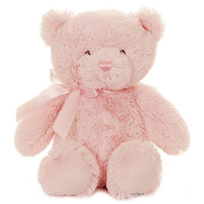 Ljusrosa teddybjörn med sidenband runt halsen. Köp nallar från Teddykompaniet på LillaFilur.se