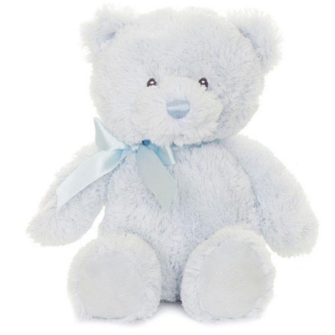 Blå Nallebjörn Pojke från Teddykompaniet med rosett runt halsen. Köp nallebjörn baby på LillaFilur.se