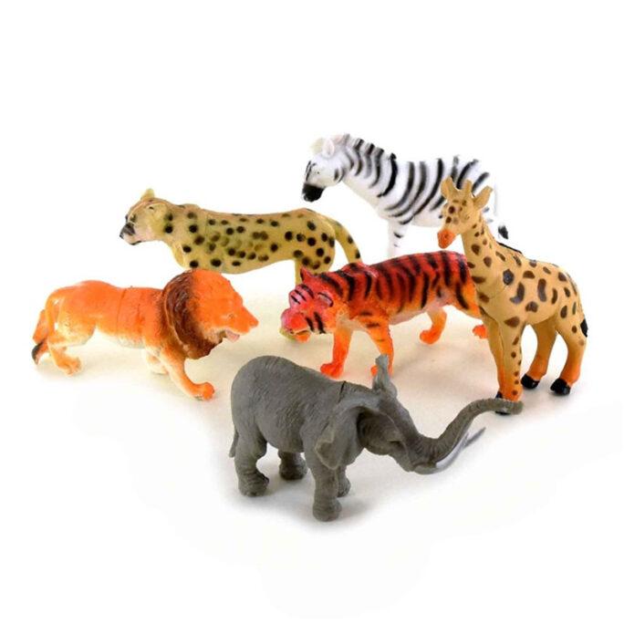 Leksaksdjur i plast, vilda djur 6-pack.