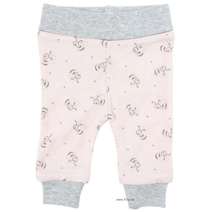 Kläder för tidigt född baby. Byxor rosa/grå med mudd. Storlek 32-56 cl.