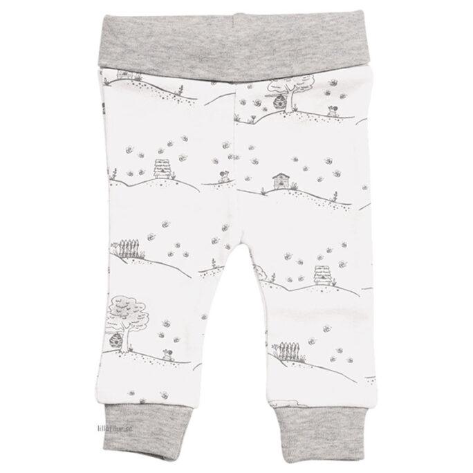 Kläder för prematura barn. Prematur byxor vita med bin. LillaFilur.se