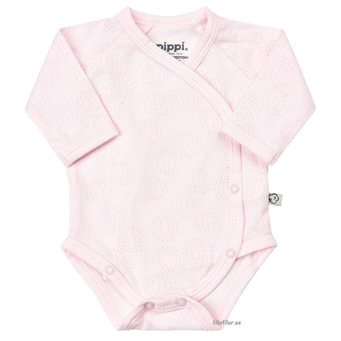 Kläder för förtidigt födda barn. Prematur body i ljusrosa. Storlek 40, 44 och 48.