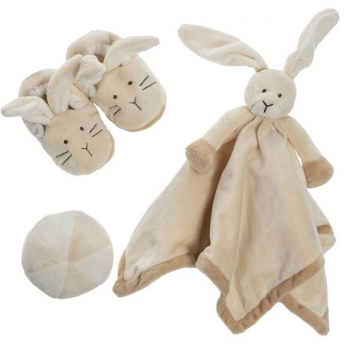 Presentförpackning nyfödd Diinglis Kanin. Fin presentbox för nyfödd med Diinglis Kanin snuttefilt, mjuk boll baby och söta mjuka kanin tofflor för baby. Från Teddykompaniet. Beställ presentbox nyfödd på LillaFilur.se