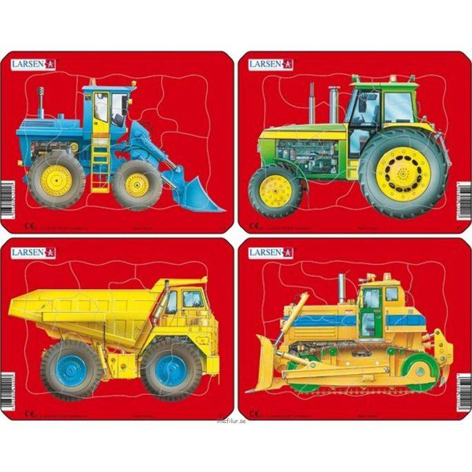 Barnpussel med arbetsfordon. Pussel barn med 8-10 bitar i kraftig papp. Pussel barn finns med dumper, traktor, grävmaskin, lastbil och vägarbetsmaskin.