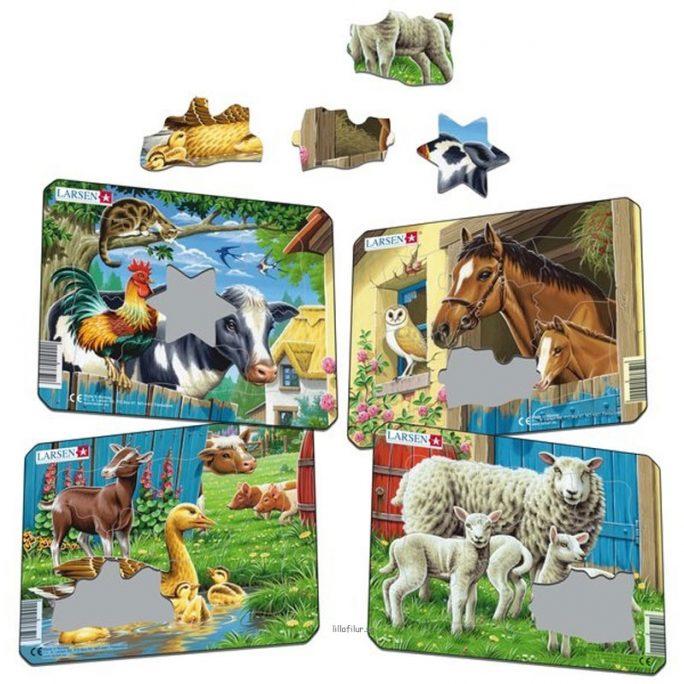 Pussel barn med djur på bondgården. Fint pussel med olika sorters djur. Finns med hästar, får, lamm och blandade djur. Med 8-10 bitar. Beställ barnpussel på LillaFilur.se