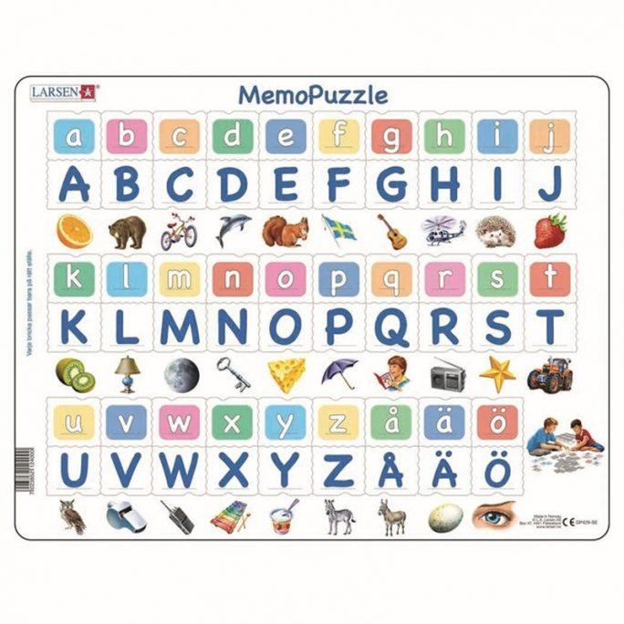 Lek och lär pussel och memoryspel med bokstäver. Pussla och spela. Innehåller 58 bitar. Beställ barnpussel på LillaFilur.se