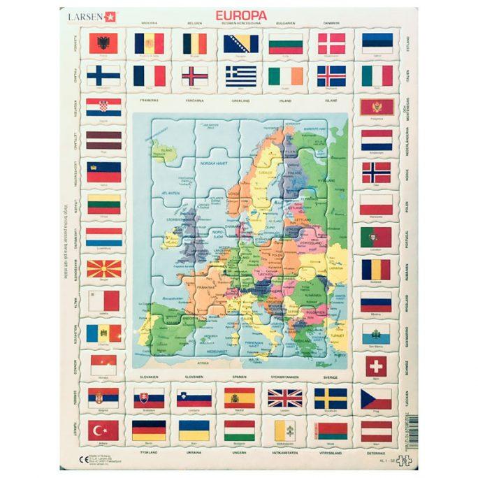 Pussel Europa Flaggor och städer. LillaFilur.se