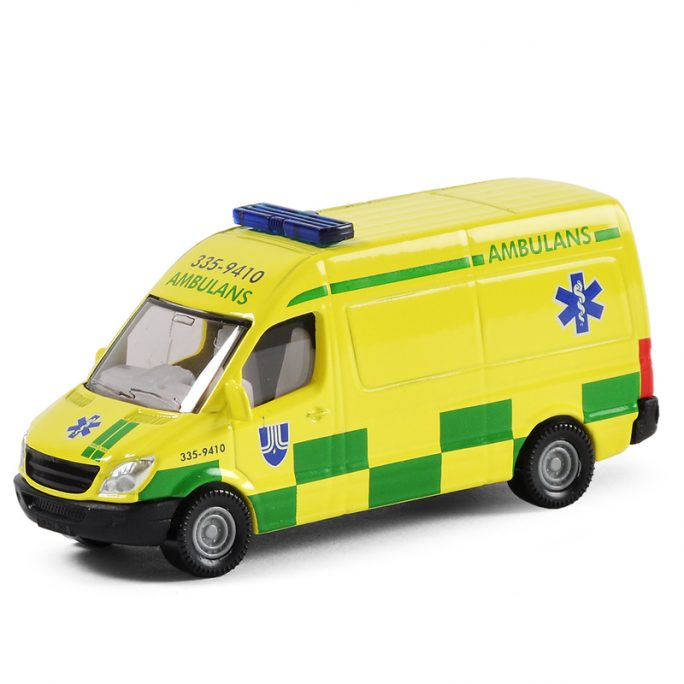 Leksaksbil i metall Svensk ambulans från Siku. Stort sortiment metall leksaksbilar hos LillaFilur.se