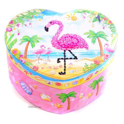 Smyckeskrin barn med dansande ballerina - Flamingo. Gulligt hjärtformat skrin med speldosa. LillaFilur.se