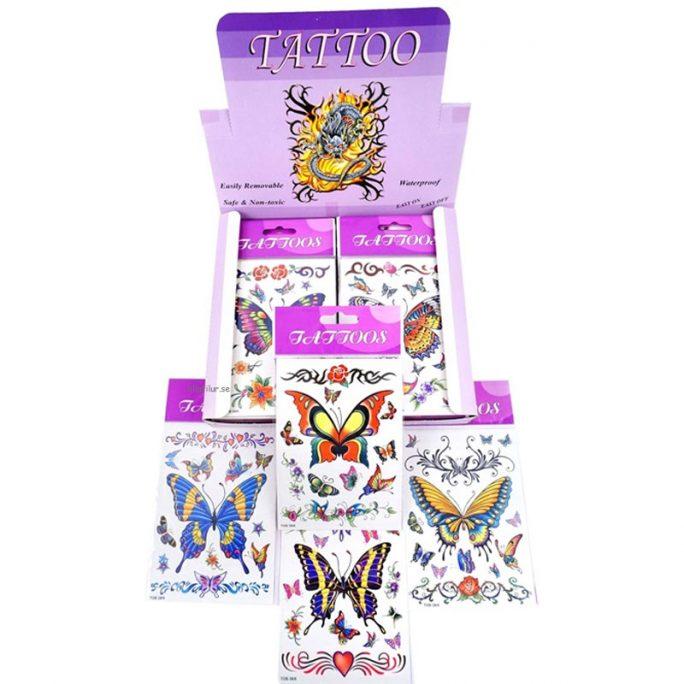 Tatueringar barn Djur med fjärilar. Finns flera olika sorter. Beställ tillfälliga tatueringar barn och gnuggisar barn hos LillaFilur.se