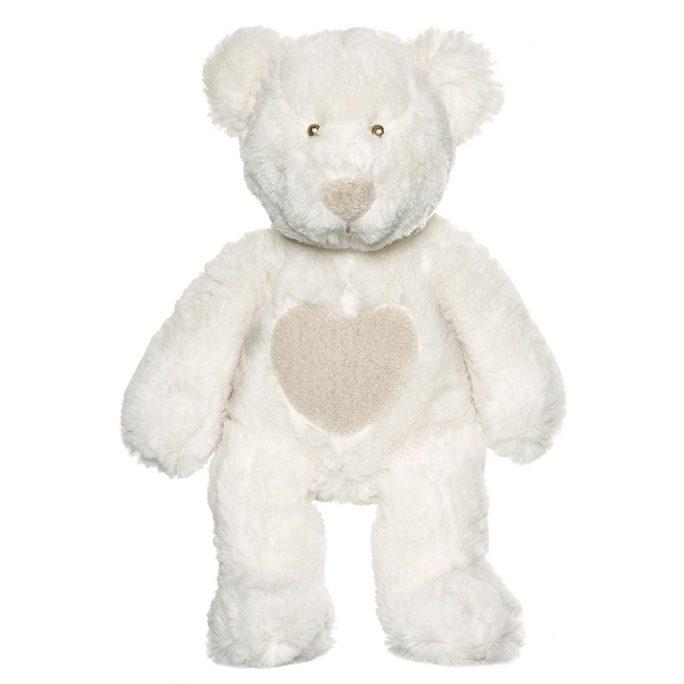 Teddykompaniet Nalle Cream Vit. Söt teddybjörn med sydda ögon och nos. Nalle för nyfödd. LillaFilur.se
