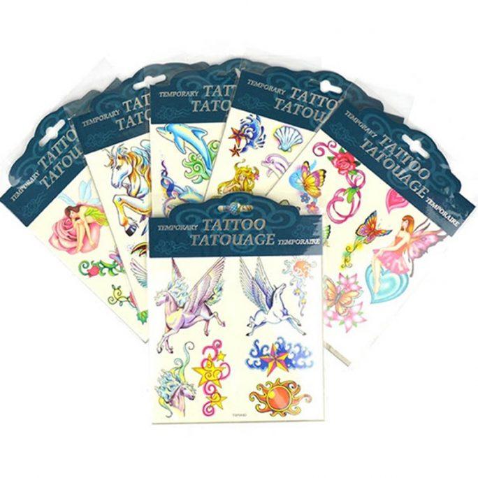 Tillfälliga tatueringar barn med djur, älvor, hästar, enhörningar och sjöjungfru. Beställ gnuggisar barn hos LillaFilur.se