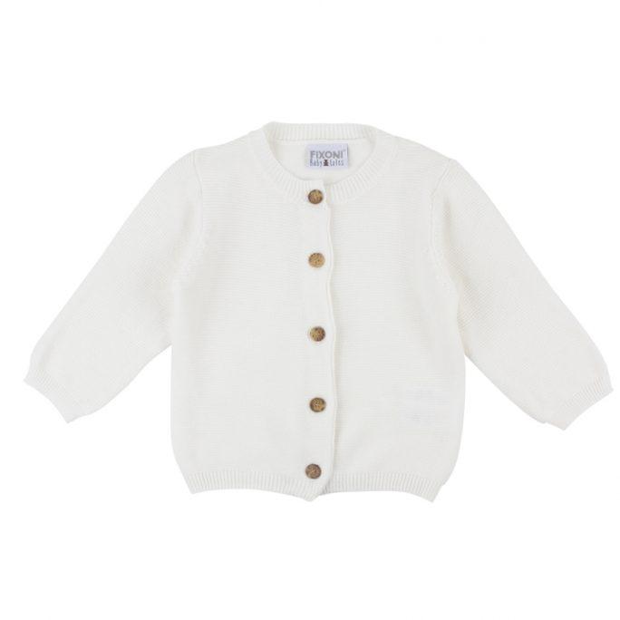 Babykofta vit Babytröja Fixoni Infinity. Mjuk och skön vit stickad kofta för baby. Beställ Fixoni babykläder och barnkläder hos LillaFilur.se.