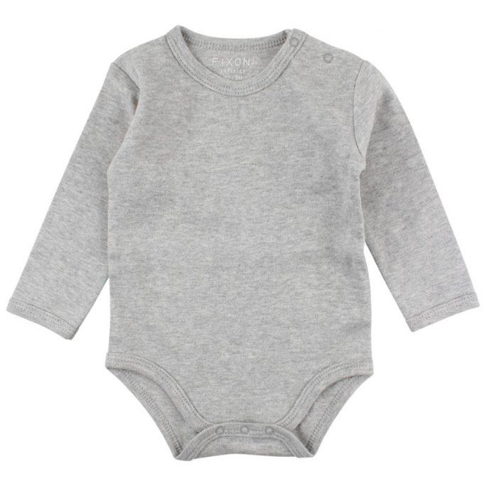Fixoni Infinity body grå eko. Enfärgad grå babybody från Fixoni baby. Finns i storlek 50, 56, 62, 68, 74 och 80. Beställ Fixoni på LillaFilur.se