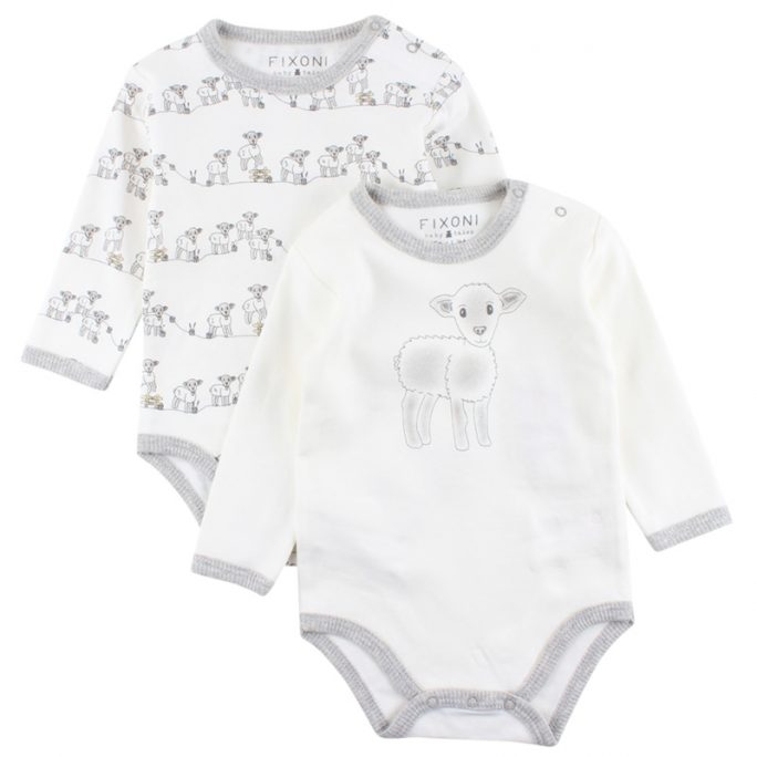 Fixoni body 2-pack med lamm. Babykläder unisex storlek 50-74 cl, LillaFilur.se