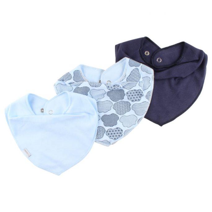 Fixoni drybib, Fixoni dregglisar enfärgade. Innehåller en ljusblå enfärgad dregglis, en marinblå dregglis och en mönstrad blå dregglis. Dregglis storpack för nyfödd hos LillaFilur.se