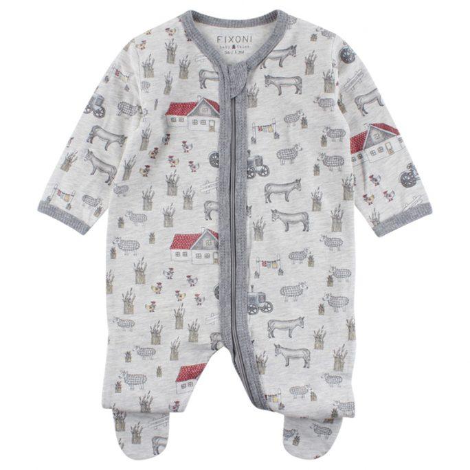 Fixoni pyjamas med fot Bondgård. Pyjamas med fot och dragkedja.