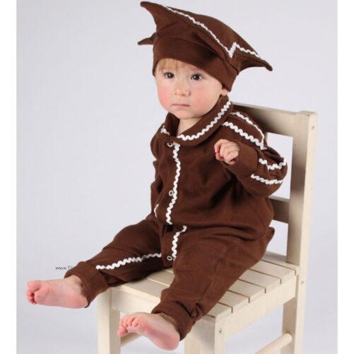 Pepparkaksdräkt Baby med söt hatt formad som en stjärna. Storlek 50-80 cl.