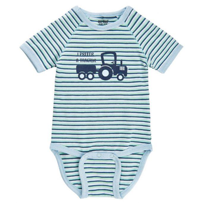Baby body kortärmad med traktor storlek 68. Body baby med kort ärm. Ekologisk bomull. Beställ babykläder på Lilla Filur.