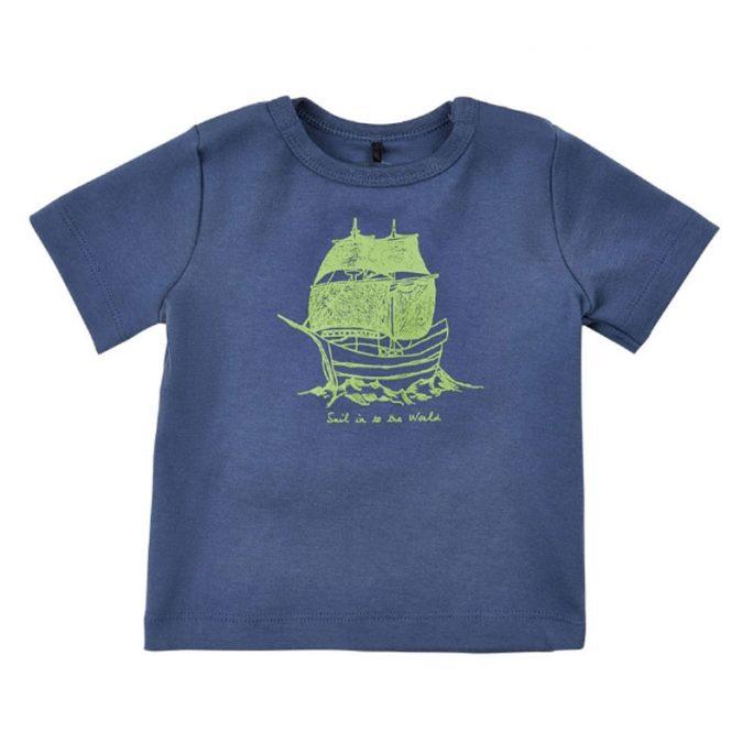 Baby tröja med kort ärm. Kortärmad tröja bebis med båt. Köp babykläder på LillaFilur.se