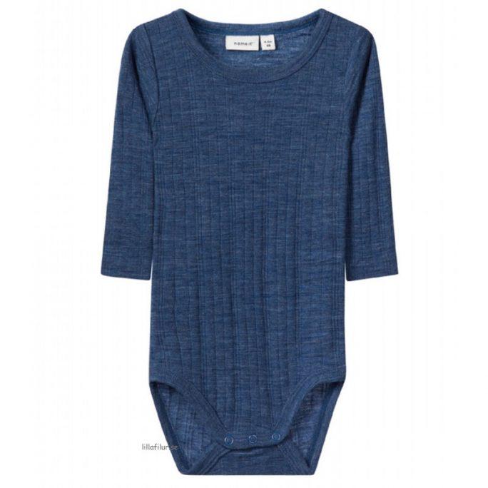 Babykläder ull body blå 100% merinoull. Rea ullkläder baby hos LillaFilur.se