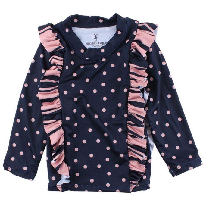 Uv-tröja barn storlek 98 104. Solskyddskläder flicka med rosa prickar och volang. Beställ badkläder flicka på LillaFilur.se