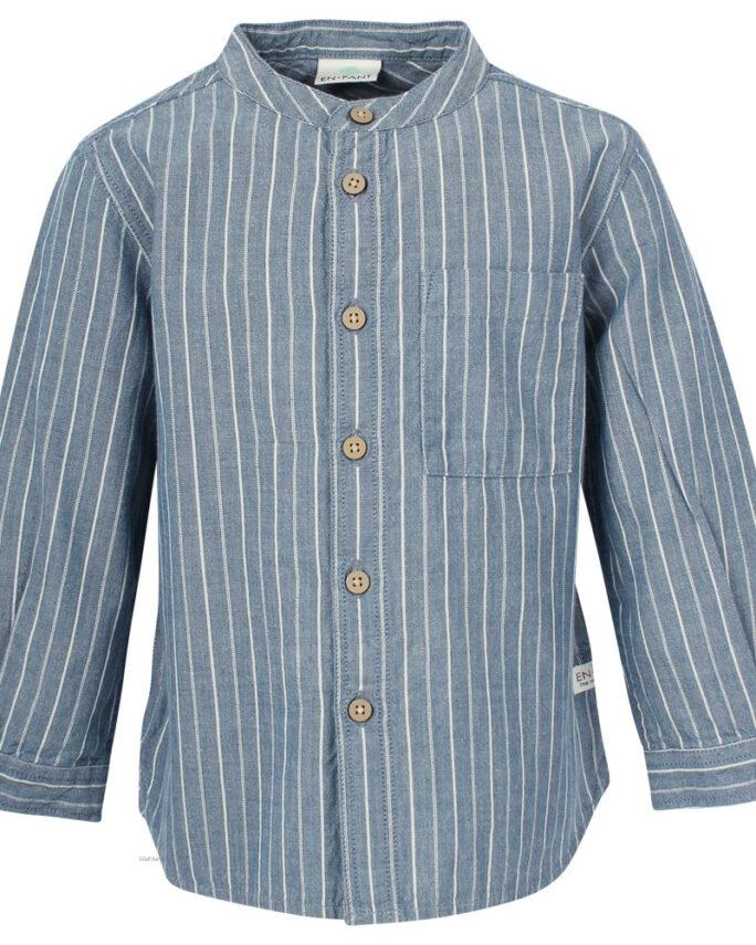 Barnskjorta med murarkrage blå med vita ränder