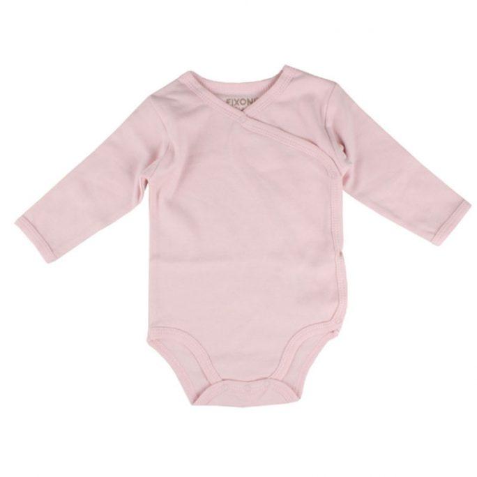 Fixoni body rosa omlottknäppning. Storlek 50 till 80. Beställ Fixoni babykläder hos LillaFilur.se