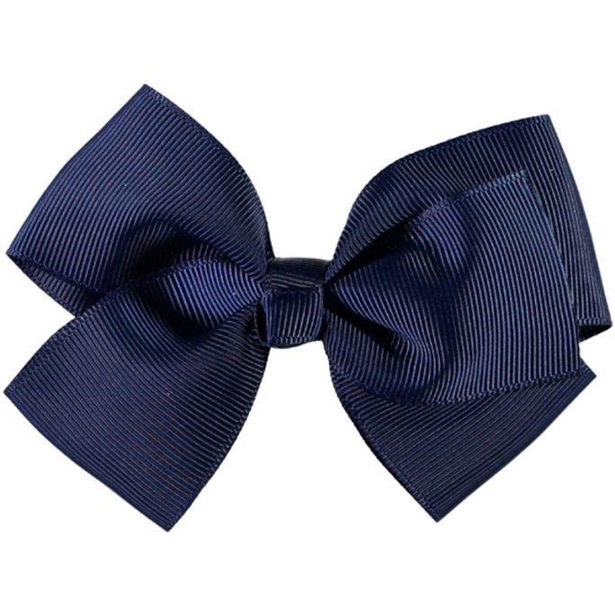 Stor rosett för håret, marinblå. Storlek 11 cm. Med hårspänne. LillaFilur.se
