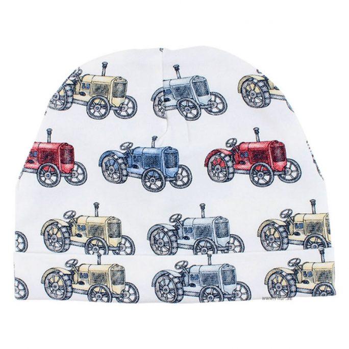 Mössa baby pojke med retro mönster av gamla traktorer. Babymössa storlek 50/56, 62/68, 74/80. Beställ babykläder online på LillaFilur.se