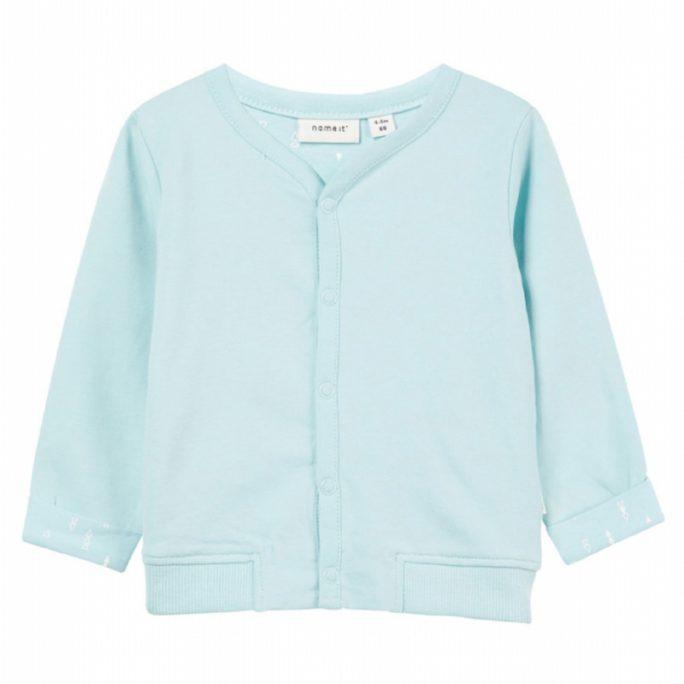 Name It babykläder tröja turkos. Storlek 50 till 74 cl. Unisex babykläder. Beställ babykläder på LillaFilur.se