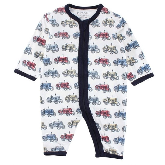 Pyjamas baby och nyfödd med dragkedja. Babypyjamas med fint retro mönster. Beställ babykläder online på LillaFilur.se