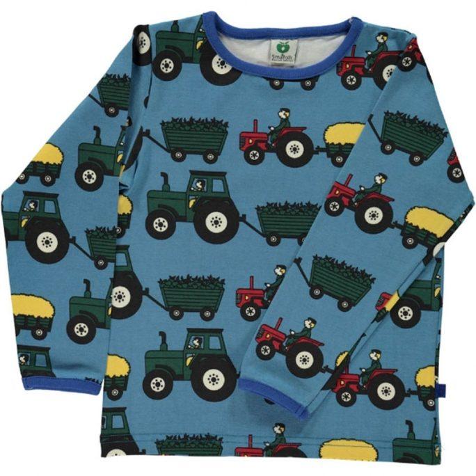 Tröja med traktorer. Fin tröja med traktormotiv. Från Småfolk. Nu REA 50%. Beställ barnkläder rea på LillaFilur.se