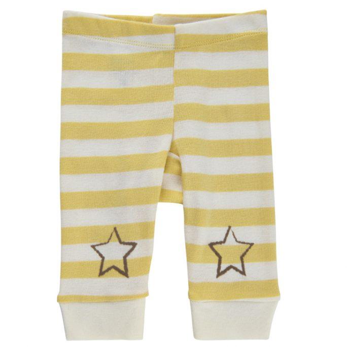 Baby byxor, leggings gul och vitrandiga. Från Pippi babykläder. Storlek 50, 56, 62, 68 och 74. Beställ babykläder unisex och ekologisk bomull hos LillaFilur.se