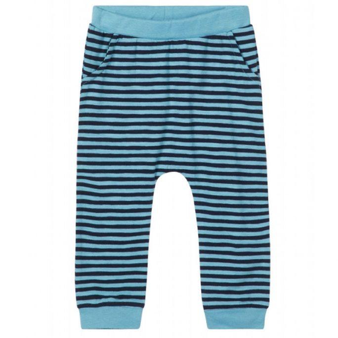 Byxor baby randiga turkos / marinblå storlek 50, 56, 62, 68, 74. Beställ ekologiska babykläder och barnkläder hos LillaFilur.se
